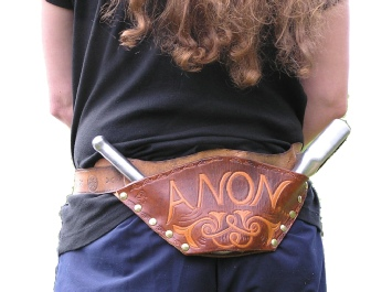 Original leather windlass Holster or holder in use.